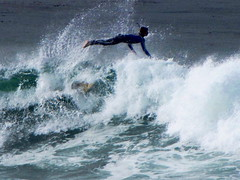 Leaping Surfer (moonjazz) Tags: danger swim waves pacific surfing athlete airborne churning