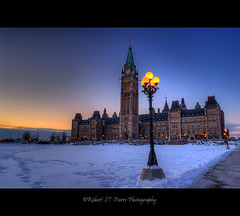Parliament Hill Canada (ROBERT ST-PIERRE) Tags: winter snow ontario canada building architecture lights nikon ottawa hill parliament canadian government hdr falg