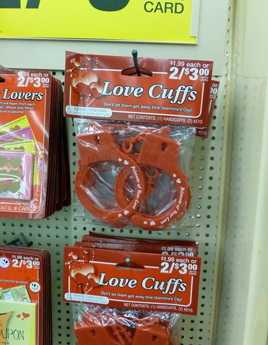 I find it oddly awesome that CVS stocks Love Cuffs for Valentine's Day even if they look uncomfortable