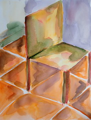 Chair 02, by Carlos (Dona Mincia) Tags: art watercolor painting paper chair inspired study tribute homage cadeira homenagem releitura vincentvangogh aquarela relecture