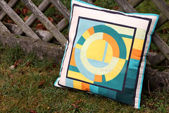 Modern circles pillow cover (1) (ShapeMoth) Tags: blue orange green modern quilt linen teal circles pillow cover solids patchwork solid shapemoth