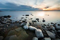 Classic R&W (- David Olsson -) Tags: longexposure sunset lake nature water clouds landscape nikon rocks sweden stones sigma karlstad le 1020mm polarizer 1020 vnern cpl vrmland polarizingfilter ndfilter lakescape smoothwater d5000 bomstad davidolsson nd500 lightcraftworkshop scatteredrocks 2exposuremanualblend ginordicjan12 bomstadcamping