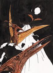 Tooth by Moonlight (Jim_V) Tags: sketch dinosaur brushpen pterodactyl dippen nibpen
