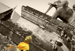 The Lord Buddha (maGifoto) Tags: old travel bw elephant statue sepia canon thailand temple gold golden asia antique buddha buddhist faith prayer buddhism lord zen meditation wat thailande belive ruines