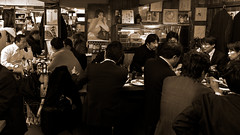 Salary Men (OzGFK) Tags: friends blackandwhite bw food monochrome japan businessman dinner umbrella japanese restaurant tokyo eating drinking smoking afterwork business suit drinks seafood supper merry andys goodtimes salaryman yurakucho businessmen salarymen blacksuit canons100