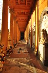 Graves in the porch (reflexbeginner) Tags: cemetery wideangle bologna grandangolo hdr warmlight certosa tamron1118 certosamonumentaledibologna