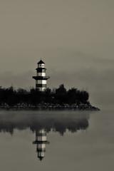 West Point Lake Lighthouse (The Suss-Man (Mike)) Tags: bw lighthouse lake reflection weather fog georgia day alabama foggy westpoint westpointlighthouse troupcounty weatherphotography westpointlake thesussman sonyalphadslra550 southernharbormarina