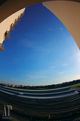 HDB in fisheye view (Alphone Tea) Tags: blue light sunset shadow sky favorite white black color building green art beautiful composition contrast print photography daylight photo amazing singapore asia cityscape bright wind outdoor great perspective fisheye tokina explore balance hdb 1017 2012 60d