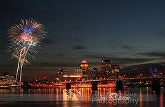 Fire Works over Louisville (The Photo-Guy Photography By Darren) Tags: city night dark fun evening cityscape fireworks dusk kentucky celebration louisville glowing