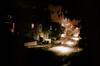 massachusetts when it's late at night (chirgy) Tags: road trees houses windows cars boston night ma trafficlight streetlights pavement massachusetts sidewalk parked nikonf2 sodiumlight autaut puddlesoflight