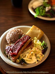 BBQ Tempeh with All the Fixin's (Bitter-Sweet-) Tags: food vegetables lunch hawaii salad vegan healthy oahu sauce bbq meal slaw cabbage honolulu barbeque soy organic cornbread savory tempeh brownrice hearty peacecafe