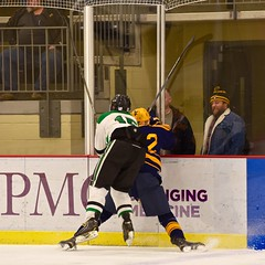 ...ow.... (R.A. Killmer) Tags: college ice hockey hit skate hits behind tough penalty wvu sru