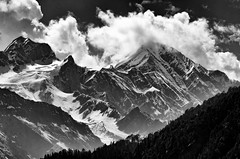 Where the mountains kisses the sky. (shamik_photos) Tags: blackandwhite mountains clouds landscape ngc manali rohtangpass himalayas