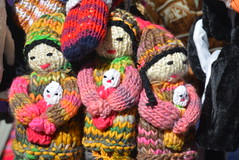 colourful knitted wool dolls (cam17) Tags: chile plazadearmas mainsquare puntaarenas knitteddolls wooldolls colourfuldolls
