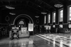 when it changes it is still a waiting game (Super G) Tags: california blackandwhite bw man losangeles sitting unitedstates candid streetphotography unionstation seated nikon266