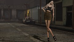 Urban Chic (Jamee Sandalwood - Miss V SWEDEN 2015) Tags: lighting light shadow urban leather outside photography gold photo model 500v20f outdoor decay mini skirt sl secondlife blonde heels chic photoart penumbra slfashion essenz fashionartphotography luxeparis