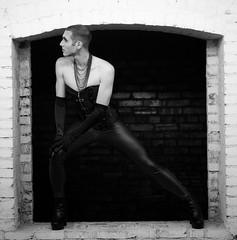 First Time in Drag (Josha Brown) Tags: drag gay man woman transgender transvestite make up corset black white dark urban gender