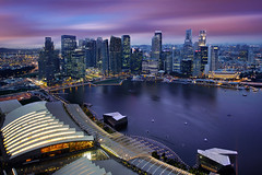 Aerial View of Singapore CBD Skyline, Marina Bay Esplanade and Raffles Place, Singapore (:: Artie   Photography :: Travel ~ Oct) Tags: city sunset building water skyline architecture modern night skyscraper marina canon buildings landscape island lights landscapes singapore waterfront view skyscrapers outdoor dusk cityhall central structures engineering aerialview places structure architectural commercial esplanade cbd residential developed 1740mm banks rafflesplace raffles dense singaporeriver artie marinabay lightings singaporecbd