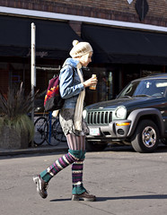 7753 Floral Skirt & Striped Tights (eyepiphany) Tags: mod hipster streetphotography layers portlandoregon winterfashion stumptown streetfashion neomod modlook streetfashionphotography stumptownfashion portlandcasual portlandcazl portlandfashion365daysayear portlandfashiontrends levijacketoverprintdress sheerstripedleggingsandknitkneelenghtlegwarmers whiteknitcapwithsnowball multilayeredlook