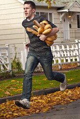 The Second Bakery Attack (annah van) Tags: autumn man bread attack running run baguette stolen loaf robbery whitepicketfence burglary steal frenchbread burglar