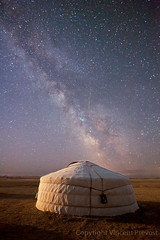 Milky Way over Mongolian tent (Pvince) Tags: camping camp sky night dark stars asia nightshot tent mongolia yurt nomad habitat startrails ger milkyway mng bulgan northeastasia mngov
