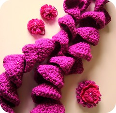 Xmas gifts for my girl (bewitchedmagic) Tags: pink cute scarf felt tween crocheted sequins hairclip ponytailholder flowerloom prettyposhposies
