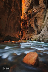 zion's warmth ([Adam Baker]) Tags: park longexposure autumn canon river utah hiking canyon virgin national zion wallstreet narrows 1740l adambaker 5dii