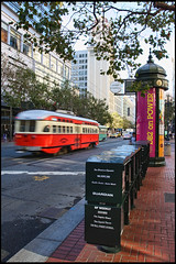 PCC streetcar ~ MUNI (SergeK ) Tags: world sanfrancisco california city usa motion bus cars public last train t design 1930s san unitedstates native grant country transport tram railway icon system muni transit vehicle streetcar westcoast built ville municipal guardian theguardian sfmuni ofarrell californie vehicule pcc unionsqare streetcars successful northamerican thewallstreetjournal longlasting sanfranciscomunicipalrailway stlouiscarcompany sergek thepccpresidentsconferencecommittee countyf skweekly