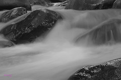 In Deep Emotion! (Haryth Hayqal) Tags: bw nature water river 50mm waterfall slow shutter