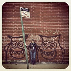 Monsters. (Marie-Laure Even) Tags: road street new york city nyc newyorkcity november autumn usa ny brick fall apple sign monster wall brooklyn america automne square town big novembre grafitti tag united parking unitedstatesofamerica north du american brique williamsburg format states rue mur bigapple ville nord aurlia amrique etatsunis earlybird americain of iphoneography instagram uploaded:by=instagram marielaureeven