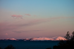 Snow on Criffel (2) (allybeag) Tags: morning pink winter light sky mountain snow weather dawn scotland hills solway criffel rosy dumfriesshire