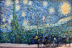 no parking... on the starry night (toleman.hart) Tags: california street blue venice urban usa sign geotagged la losangeles seaside interestingness nikon noparking bikes urbanart explore venicebeach experimentation southerncalifornia westla urbanlandscape vincentvangogh toleman 2011 boarwalk postimpressionism thestarrynight explored oceanfrontwalk d5000 tolemanhart