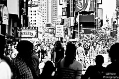 Wait for walk in Time Square, NYC (WillVision Photography) Tags: street nyc newyorkcity portrait people bw white ny newyork canon eos 50mm walk stop timesquare f18 signal bigapple whiteblack blackwhiteblack 400d willvision