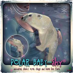 MIASNOW Animal Polar Baby Shy Poster (MiaSnow) Tags: bear pet baby cute babies adorable shy sl secondlife virtual animated polar pooky wiggles wooby miasnow miasnowmyriam
