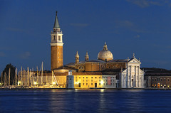 Nightfall in Venice (o palsson) Tags: blue venice italy tower art church water marina island evening san basilica centre center foundation hour dome maggiore giorgio cini feelingscolour