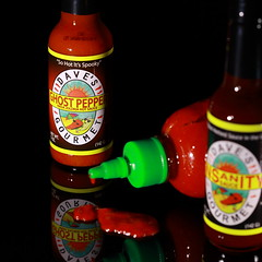 Burned (Nocturnal Bob) Tags: red food lightpainting square death dof gourmet daves heat insanity spicy hotsauce units sriracha scoville ghostpepper nagajolokia sohotitsspooky