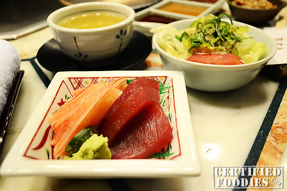 Hot Tea with a bowl of Tuna and Salmon Sashimi