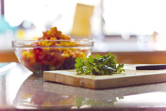 Health food (redaleka) Tags: wood morning light food green cooking window kitchen glass colors vegetables table foods salad focus day bright bokeh cut board knife cook bowl fresh ingredients marble process parsley sick cuttingboard helthy helth