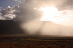 Approaching Shower (Martin Third) Tags: sky usa sun rain weather america shower nationalpark unitedstates unitedstatesofamerica yellowstonenationalpark northamerica lamar yellowstone wyoming lamarvalley canoneos50d sunnyshower