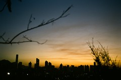 sky - line (Lane #51) Tags: city blue trees sunset sky urban tree film silhouette skyline rollei sunrise buildings hongkong dawn iso200 dusk lucky magichour