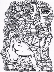 EQUINE LIMB DISTORTIONS FAZE THE JESTER (Narolc) Tags: bw abstract art lines ink paper flickr jester surreal limbs snails a5 visualart equine symbolic detailed intricate connections autobiographical anatomical sparklingheart sharingart narolc juliancloran