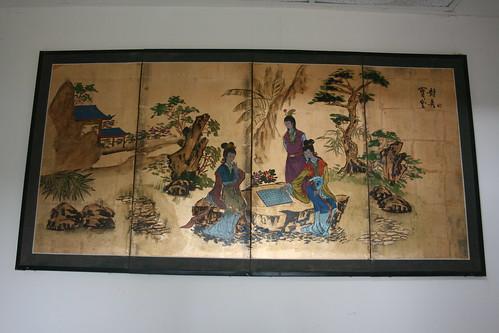 Gaudy Asian scenery art wall hanging