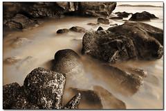 Sea Cave Long Exposure - Sandy Edit (Stevpas68) Tags: ocean longexposure seascape beach water photoshop landscape sand rocks sandy shoreline australia pacificocean nsw cave edit seacave munmorah smoothwater ghostiesbeach ghostiescave