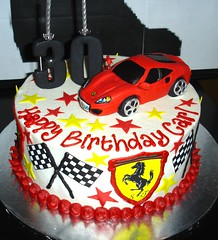 Wicked Chocolate cake iced in white butter icing decorated with 3D Ferrari, edible logos, racing flags, fondant stars, 3D black #30 & piped message (Charly's Bakery) Tags: cake tv chocolate angels bakery reality charlys