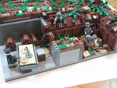 Assault: France, 1944 (3) ([DustyBricks]) Tags: france lego wwii american dio british hq grenade destroyedbuilding stuarttank