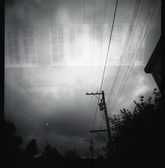window/wire (Beaulawrence) Tags: park sky white mountain canada black fall 120 6x6 film church window vancouver clouds rollei analog square lens toy riley fantastic lomo lomography exposure mt bc power little transformer south flash grain columbia double scan line september pole couch plastic diana filter f 400 infrared british medium format asa cambie cheap chesterfield pleasant 2011 sooc wrie