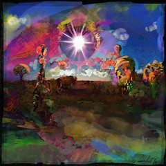 Forest Primeval (flynryon) Tags: trees sunset inspiration painterly abstract art texture mike mobile digital circle studio landscape movement woods earth dream warmth surreal photographic canvas kansas organic cosmic impressionist ryon fingerpainted iphone artstudio layered brushstroke emulate theoretical scumble fingerpainter iphoneart paintbook awardtree fingerpaintedit flynryon httppaintbookcaflynryon ipaintings iamda netartii maap:assignment=320