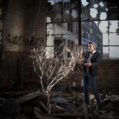 The Conductor (Rob Woodcox) Tags: life light red urban tree brick beauty mi concrete factory emotion decay michigan grunge detroit surreal bowtie suit explore conceptual magical abandonment rubble conductor urbanexploring abandonement skintone robwoodcox robwoodcoxphotography