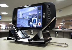DIY Cell Phone Camera Stand (dkfotog) Tags: usa diy video tx cellphone smartphone improvised businesscard fortworth binderclips lowtech lifehacker binderclip improvise phonecamerastand