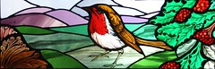 Robin window (stainedglassartist) Tags: sunwindow stainedglasskingfisher schoolwindows moonwindow moodroomwindowsforaschool stainedglassrobin